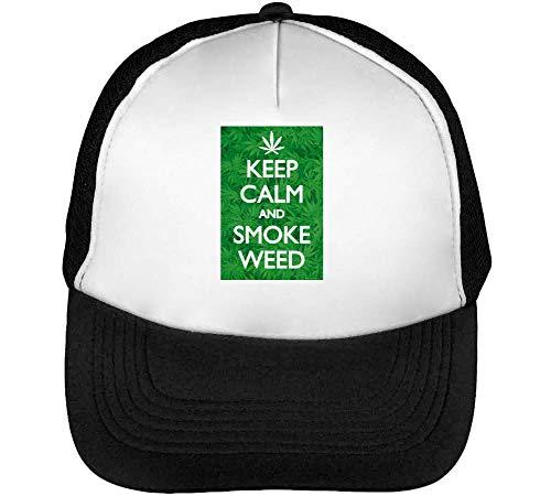 Background Cannabis Gorras Snapback Keep Hombre Beisbol Calm Blanco Negro Smoke Weed qpffOI