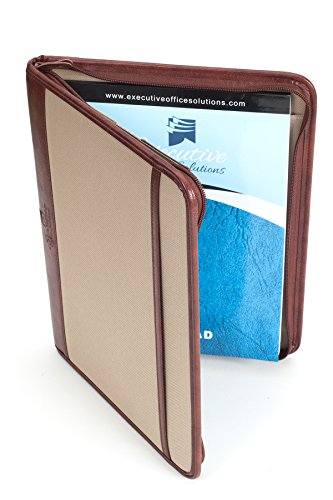 Professional Business Case Portfolio Padfolio Organizer Folder With iPad Mini, Kindle or Tablet Sleeve, Zipper, Card Holders, Pen Holder, Document Folder, and Front Paper Holder - Tan Photo #4