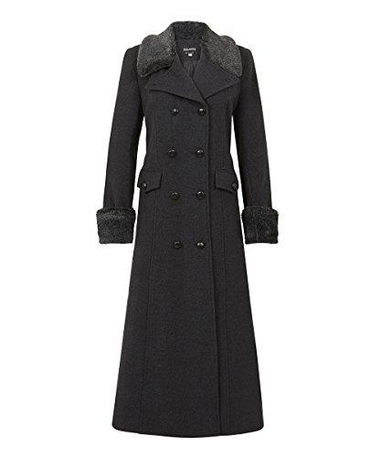 De la Creme – Women`s Winter Wool Cashmere Military Coat Faux Fur Collar