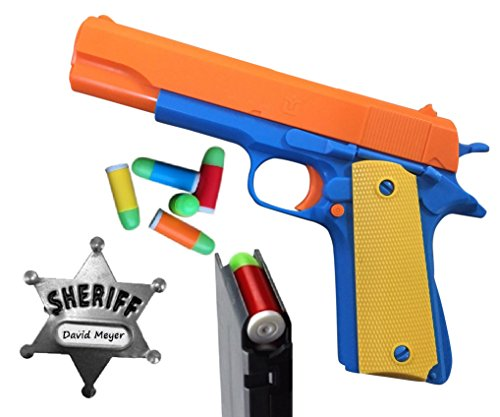 Colt 1911 Toy Gun with 15 Soft Bullets, Ejecting Magazine, Slide Action, and Metal Sheriff Badge. Actual Size of M1911 with Orange Barrel for Training or Play