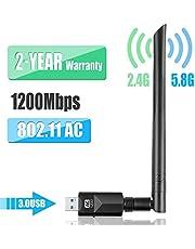 YIYOU AdaptadorUSB WiFi Antena Dual Band 5dBi para PC/Desktop/Laptop/Mac
