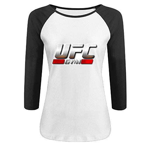 UFC Gym Cool Logo Fighter Design Pattern 3/4 Sleeve Baseball Graphic T-shirts Woman Black - Ufc Undisputed 3 Xbox 360