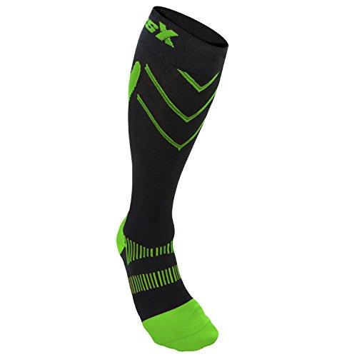 CSX Compression Athletic Socks, Green on Black, X-Large 15-20 mmHg -  Surgical Appliance Industries, X200GB-XL