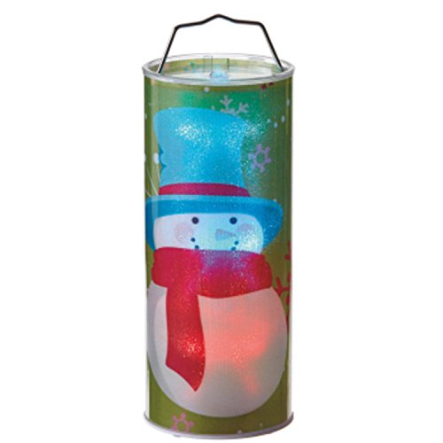 Midwest Gloves 12'' Battery Operated Transparent Snowman LED Color Changing Lighted Hanging Christmas Lantern by Midwest Gloves