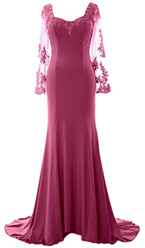 MACloth Women Long Sleeve Mermaid Lace Jersey Formal Prom Dress Evening Gown Wine Red