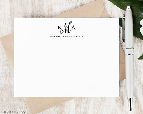 (PRETTY MONOGRAM - Personalized Flat Classic Stationery/Stationary Note Card Set)