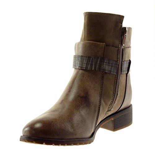 cm Angkorly Rhinestone Block Booty Shoes Heel 5 Boots Buckle Thong Biker Women's Fashion Ankle bi Khaki Material 3 zwqza