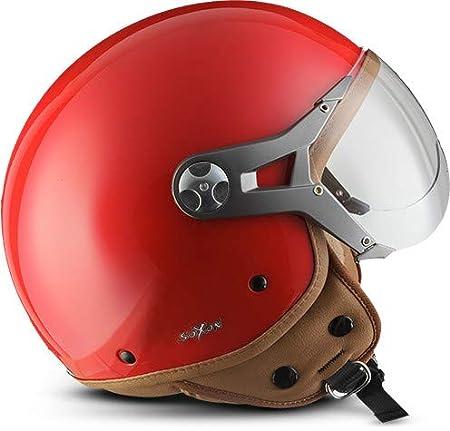 SOXON SP-325-MONO Snow /· Scooter Biker Helmet Mofa Moto motocicleta Vintage Chopper Bobber Vespa Cruiser Piloto Urbano Casco Demi-Jet Urban Retro /· ECE certificado /· visera incluido /· incluyendo bolsa de casco /· Blanco /&m