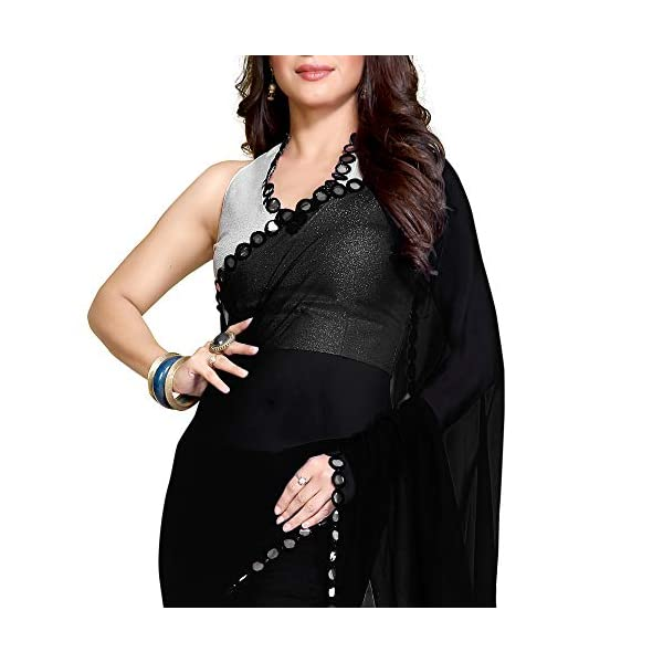 SOURBH Women's Georgette Saree With Blouse Piece