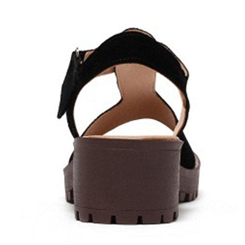 Mode Noir À Sandales De sangle Arrière Talon Taoffen Chunky T Bride Femmes Avec Velcro TO5fx