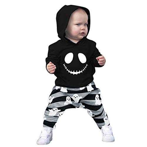 FEDULK Halloween Clothes Toddler Baby Boys Cartoon Skull Hoodie Tops+Striped Pants Outfits(Black, 6-12 Months)