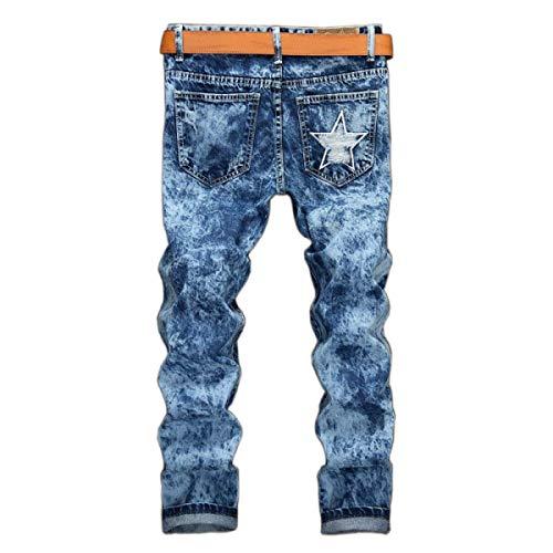 Rasgados Jean Recta Laisla Clásico De fashion Azul Vaqueros De Mediana Ocio Sin Estiramiento Pantalones Chicos Mortero Delgado Cintura Pantalones Hombres Pantalones f50Oxqw5