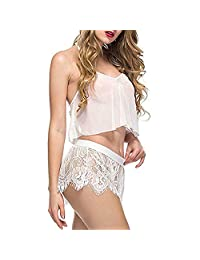 baskuwish Sexy Lingerie for Women for Sex, Lace See Through 2 Piece Strappy Cami Top + Shorts Pajamas Set Babydoll Sleepwear