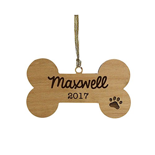 GiftsForYouNow Dog Bone Personalized Ornament, Wood