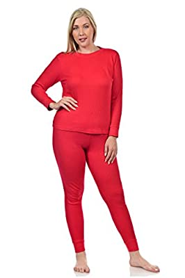 Basico Women's 2pc Long John Thermal Underwear Set 100% Cotton