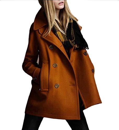 Button MogogoWomen Down Collar Coat Woolen Yellow Classics Turn Winter Fitness n55r4cXqW