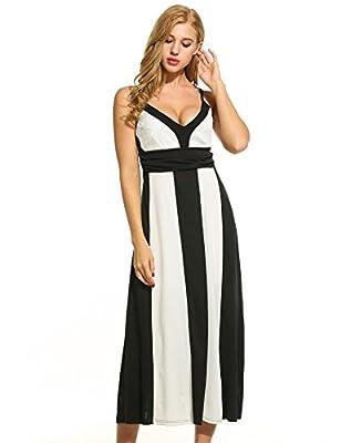 ACEVOG Women's Retro Vintage Sleeveless High Waist Party Wedding Maxi Long Dress