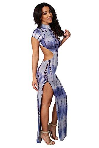 Blau offener Rücken Tie Dye Maxi Kleid Club Wear Party Wear Festival ...