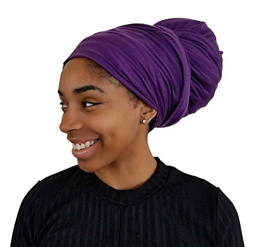 Rayna Josephine Stretch Head Wrap - Long Solid Color Turban Hair Scarf Tie (Purple Majesty)