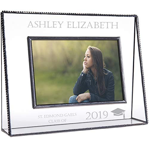 J Devlin PIc 319-46HEP500 Personalized Graduation Picture Frame Tabletop 4 x 6 Horizontal Photo Engraved Glass High School College Graduate Class of 2019 Grad Keepsake Gift ()