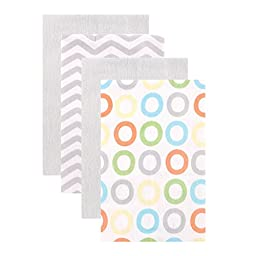 Luvable Friends Flannel Burp Cloths, Yellow Circles