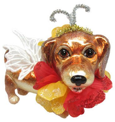 December Diamonds Blown Glass Ornament - Girl Dachshund with Flower Bow