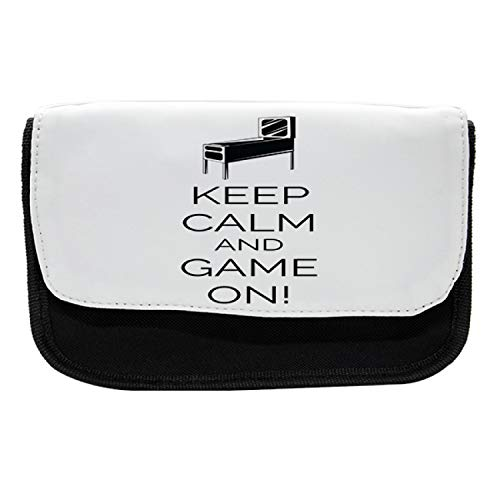 Ambesonne Keep Calm Pencil Case, Pinball Machine Fun, Fabric Pen Pencil Bag with Double Zipper, 8.5