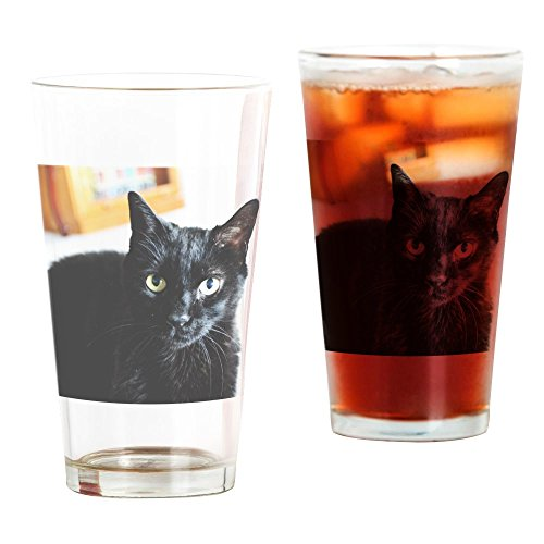 CafePress Black Kitty Cat Pint Glass, 16 oz. Drinking -