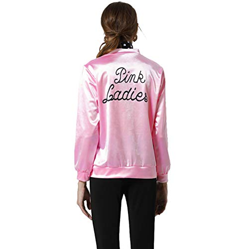 Pink Satin Ladies Jacket 50S T Bird Danny Pink Satin Jacket Halloween Costume with Neck Scarf (L, -