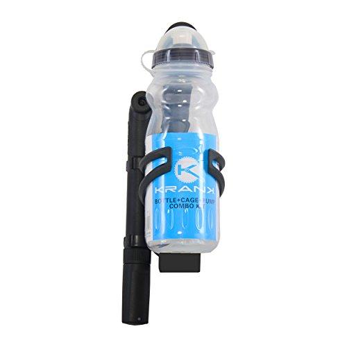 Krank Water Bottle + Cage + Pump Combo Kit, Smoke/Black