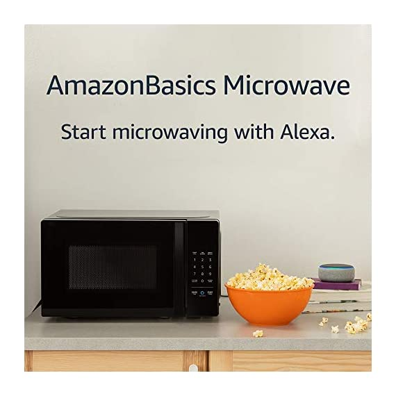 Amazon Basics Microwave bundle with Echo Dot (3rd Gen) - Charcoal 6 Now it's easier to defrost vegetables, make popcorn, cook potatoes, and reheat rice. With an Echo device (not included), quick-cook voice presets and a simplified keypad let you just ask Alexa to start microwaving. Automatically reorder popcorn when you run low and save 10% on popcorn orders-enabled by Amazon Dash Replenishment technology Compact size saves counter space, plus 10 power levels, a kitchen timer, a child lock, and a turntable.