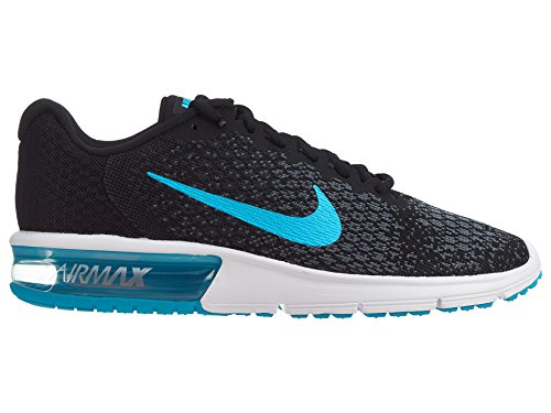 Nike Air Max Sequent 2 Nero / Blu Di Cloro / Antracite / Grigio Mens Cool Running Scarpe Taglia 10