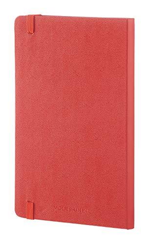 "Moleskine Classic Notebook, Hard Cover, Large (5"" x 8.25"") Squared/Grid, Coral Orange"