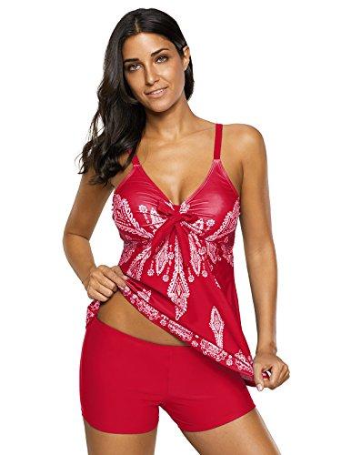 - Century Star Women's Tummy Control Swimwear Paisley Printed Tankini Swimsuit with Boyshorts Two Piece Bathing Suit Red X-Large (fits Like US 12-14)
