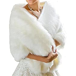 BanZhang Bridal Wraps Faux Fur Shawl Wedding Bolero For Women Winter Formal Ivory
