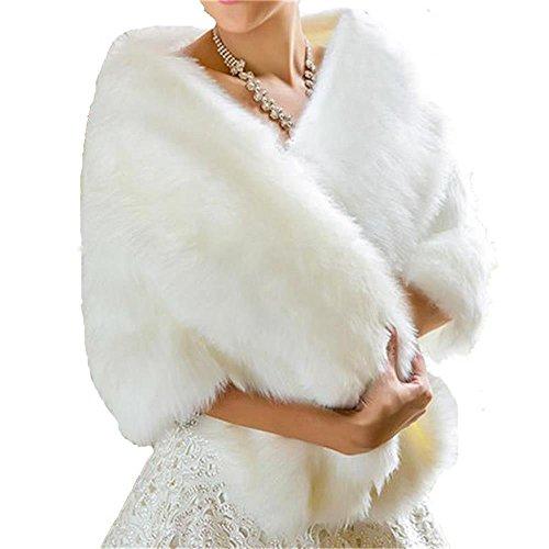 BanZhang Bridal Wraps Faux Fur Shawl Wedding Bolero For Women Winter Formal Ivory