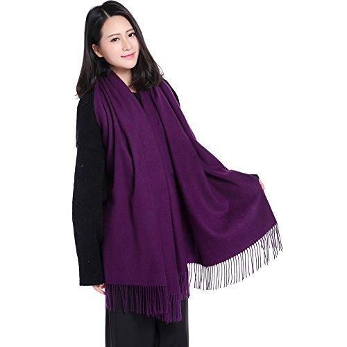 Fineplus Women's New Arrival Thicken Pashmina Wool Scarf Shawls Stole Purple