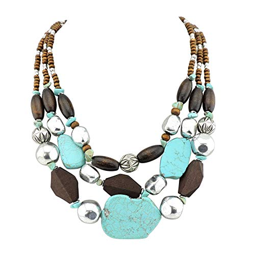 (Bocar Personalized Layered Strands Turquoise Statement Chunky Necklace for Women Gifts (124))