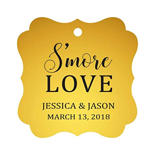 Darling Souvenir S'More Love Personalized Wedding Favor Tags Bonbonniere Hang Tags-Metallic Gold-100 Tags ()