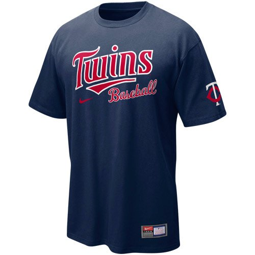 NIKE Minnesota Twins Practice T-Shirt - Navy Blue (Large) ()