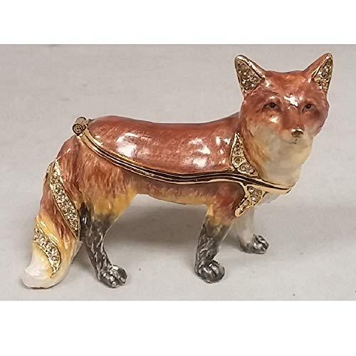 Kubla Craft Red Fox Bejeweled Austrian Crystal Enameled Jewelery Trinket Box