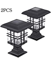 Mainstayae 0.2 W 2 Pack Solar Powered LED Garden Yard Bollard Pillar Light Lawn Lamp 2-IN-1 Outdoor Landscape Auto On/Off Post Lamp Water Resistant