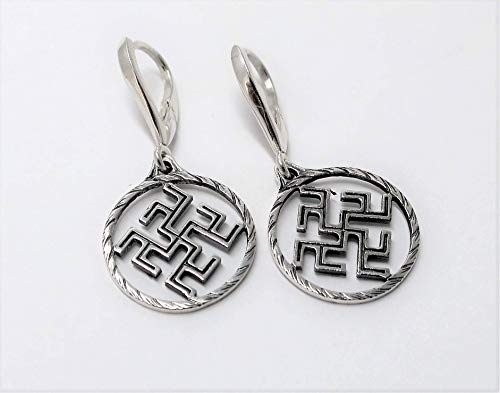 Flower of the fern earrings for woman sterling silver amulet guard ancient slavic symbol nordic talisman pagan amulet for her FREE SHIPPING sterling silver doublesided ()
