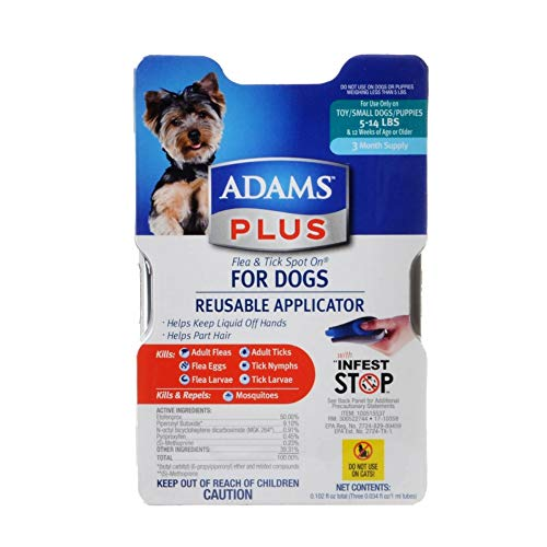 Adams Plus Flea and Tick Spot On  for Dogs, Small Dogs 5-14 Pounds, 3 Month Supply, With Applicator ()