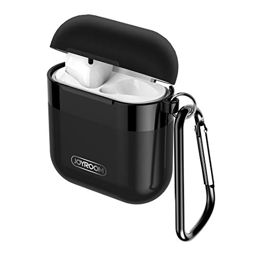 JOYROOM AirPods Case Cover, Premium Protective Skin for Apple AirPods Charging Case (Also Fit Latest Mode AirPods 2), with Keychain, Cleaning Brush, Anti-Lost Silicone AirPods Strap - Black
