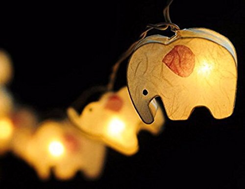 Battery AA Handmade White Color Elephant Zoo Animal Plant Paper Lantern String Light Kid Bedroom Light Display Garland Colorful by Thai Decorated