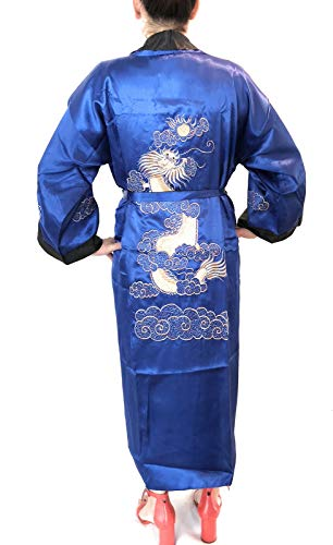 - THY COLLECTIBLES Unisex Reversible Silk Satin Robe Kimono Relaxation Bathrobe Dragon Embroidered Night Gown (Blue, Asian L = US M)