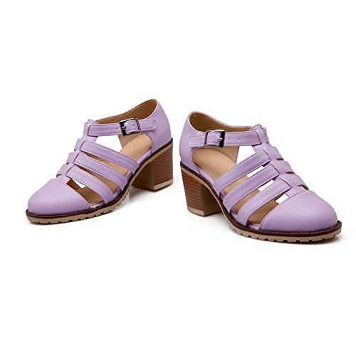 Balamasa Femme Évider Boucle Simili Cuir Pompes-chaussures Violet