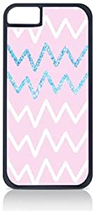 Pink and Blue Glitter Chevrons- Case for the Apple Iphone 4-4s Universal-Hard Black Plastic Outer Shell with Inner Soft Black Rubber Lining