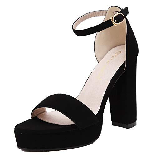 Heels Women Suede VogueZone009 High Open Buckle Toe Sandals Black Solid CCALP014907 Imitated BqE6dEw